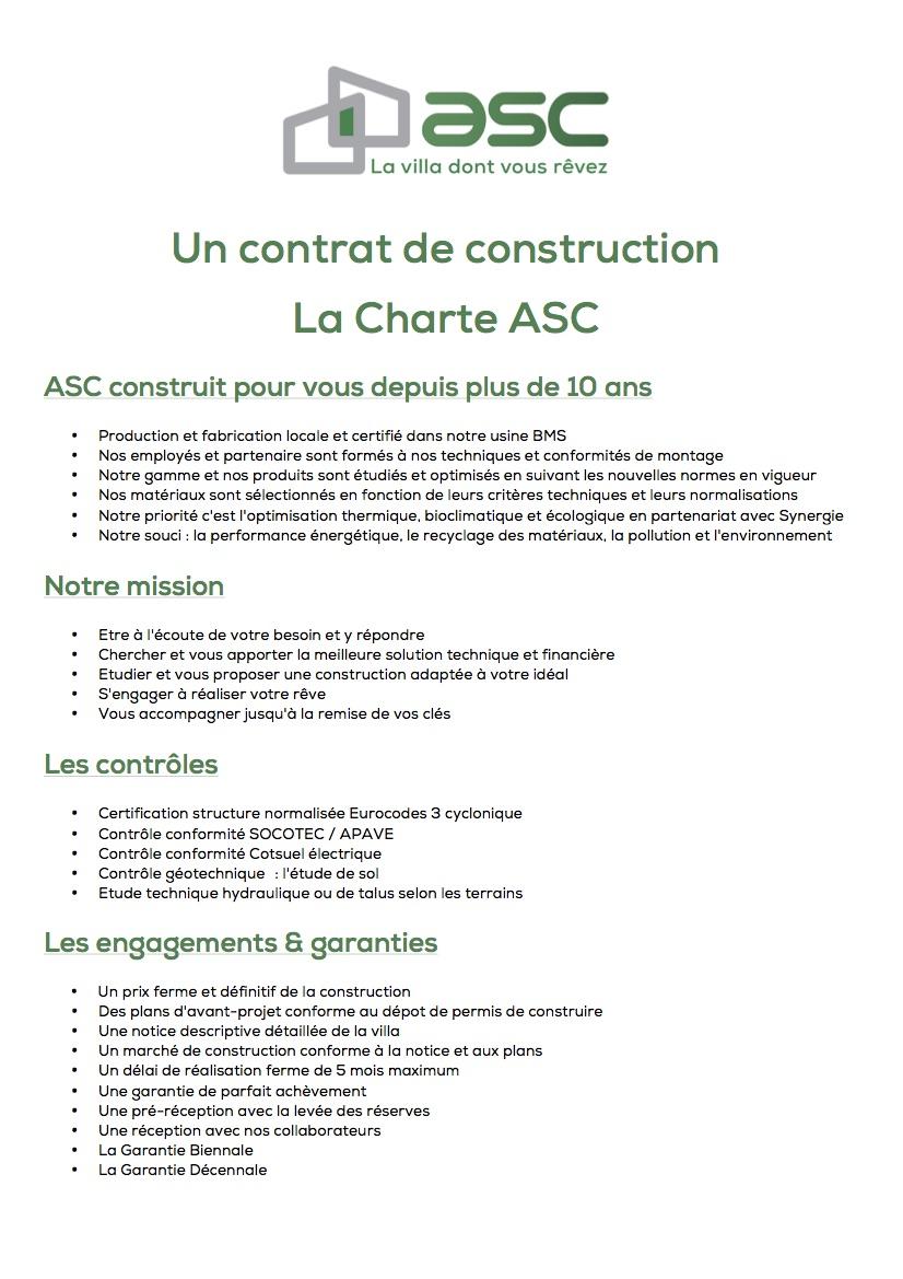 Notre charte de construction