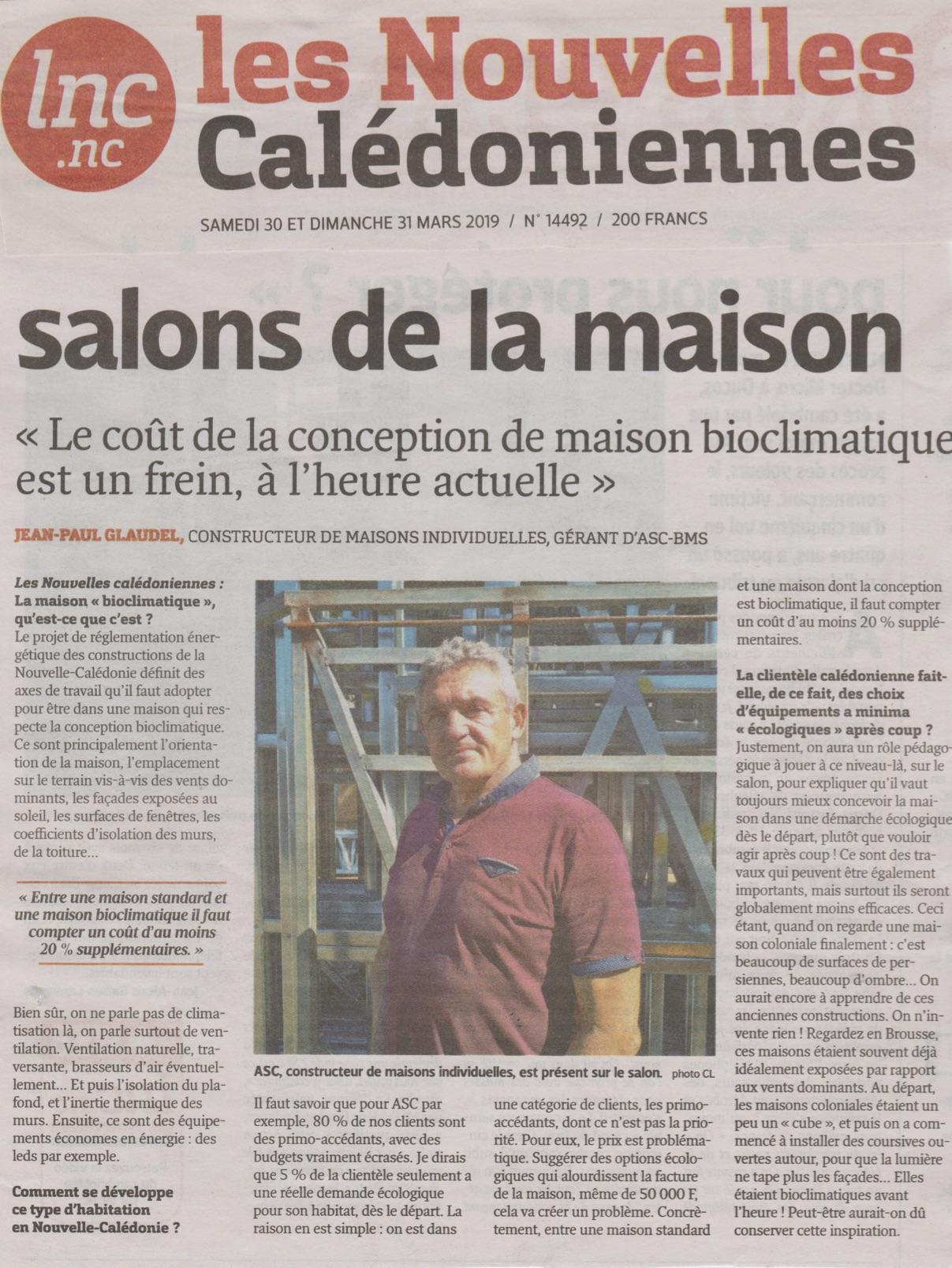 Interview de Jean-Paul Glaudel dans Les Nouvelles à l'occasion du Salon Habitat & Déco