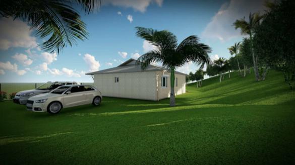 L'arrière de la maison avec l'emplacement parking